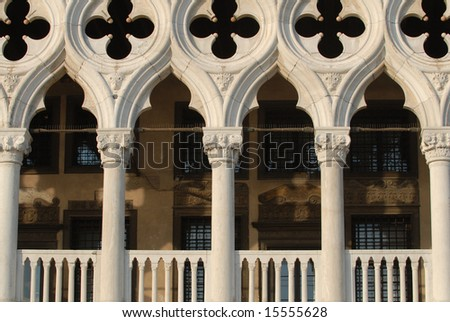 Venetian gothic example on Ducale Palace balustrade - stock photo