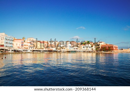 venetian habour of Chania old town at sunny day, Crete, Greece - stock photo