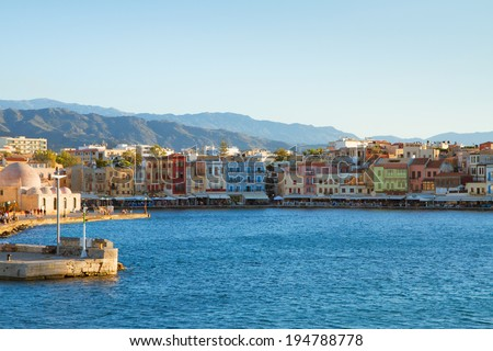 venetian habour of Chania with historical houses at sunny day, Crete, Greece - stock photo