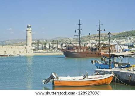 Venetian harbor of Chania, Crete, Greece with lighthouse