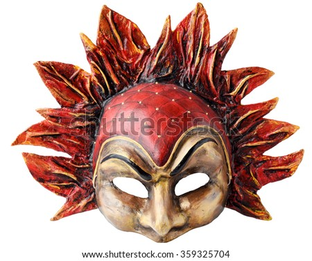 Venetian Interior and carnaval mask embodying the element of fire, isolated on white  background.  Handmade Papier-mache with acrylic paints,  plaster, lacquer - stock photo