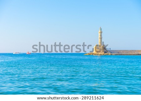 Venetian lighthouse at Chania, Crete - stock photo