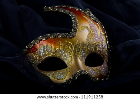 Venetian mask, gold and red, carnival, venice
