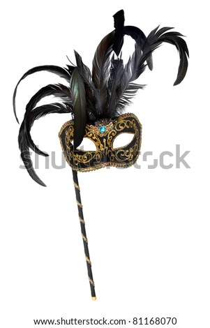 Venetian mask with handle, isolated on white background. - stock photo