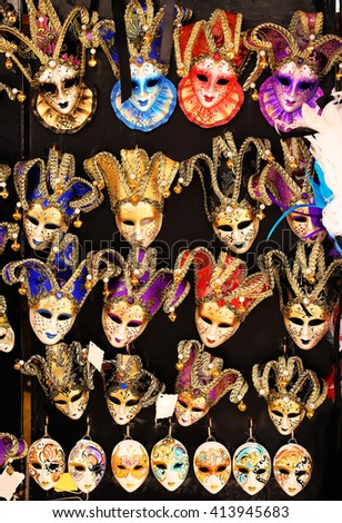 Venetian masks for Carnival. Souvenirs from Italy