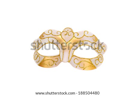 Venetian silver and gold carnival mask closeup - stock photo