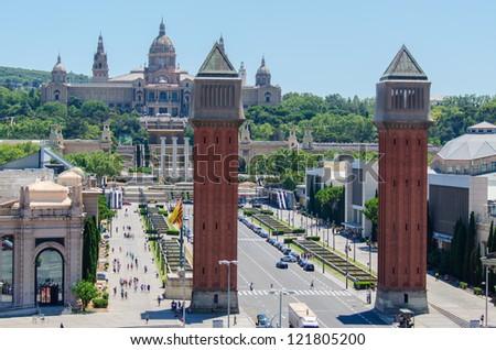 Venetian Towers lead the way to the MNAC (Fine Arts Museum) via Avinguda de la Reina Maria Cristina in Barcelona Spain - stock photo