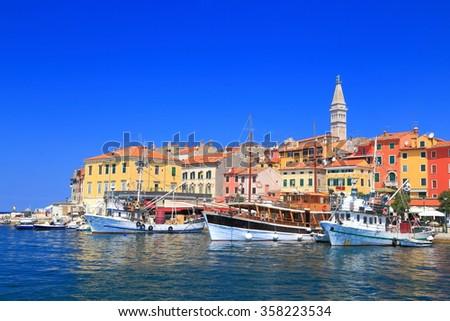 Venetian town and harbor near the Adriatic sea, Rovinj, Croatia - stock photo