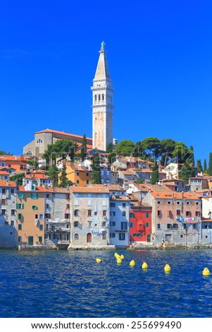 Venetian town on and blue waters of the Adriatic sea, Rovinj, Croatia - stock photo