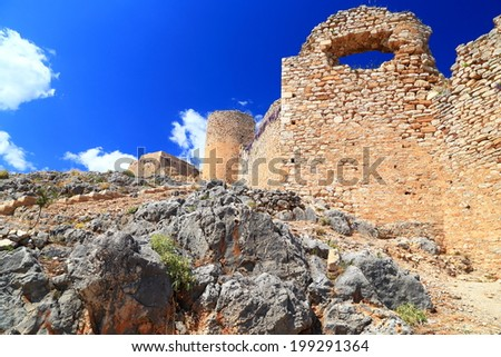 Venetian walls of Larissa fortress built on top of a hill near Argos, Greece  - stock photo