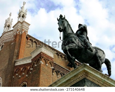 Venezia horse statue square church cathedral Venice, Italy.