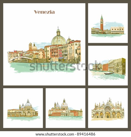 Venezia, Italy Piazza San Marco with Campanile, Basilica San Marco and Doge Palace. - stock photo