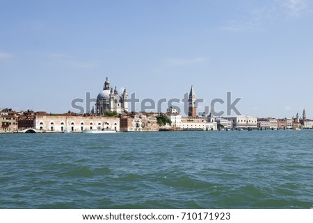 Venezia, Italy: View of Piazza San Marco shooting from the island of Giudecca