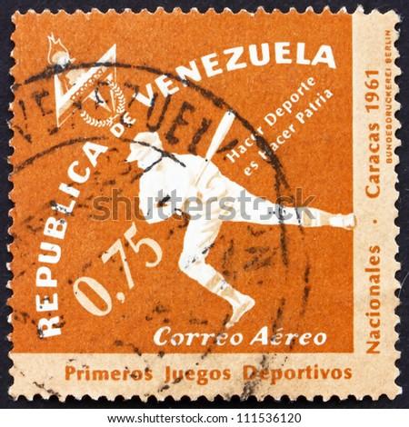 VENEZUELA - CIRCA 1962: a stamp printed in the Venezuela shows Baseball, 1st National Sport Games, Caracas, circa 1962 - stock photo
