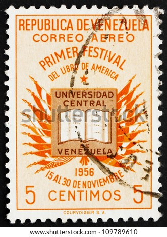 VENEZUELA - CIRCA 1956: a stamp printed in the Venezuela shows Book and Flags of American Nations, Book Festival of the Americas, circa 1956 - stock photo