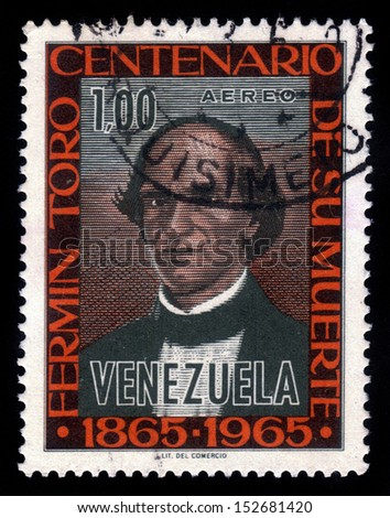 Venezuela - CIRCA 1965: a stamp printed in the Venezuela shows Ferm�n Toro y Blanco, was a Venezuelan humanist, politician, diplomat and author, circa 1965 - stock photo