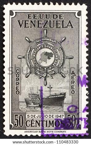 VENEZUELA - CIRCA 1949: a stamp printed in the Venezuela shows Ship, M. S. Republica de Venezuela, circa 1949 - stock photo