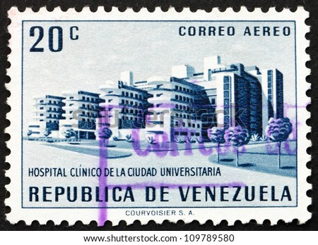 VENEZUELA - CIRCA 1956: a stamp printed in the Venezuela shows University Hospital, Caracas, circa 1956 - stock photo