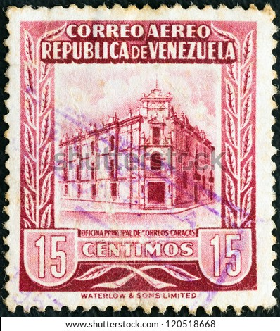 VENEZUELA - CIRCA 1953: A stamp printed in Venezuela shows General Post Office, Caracas, circa 1953.