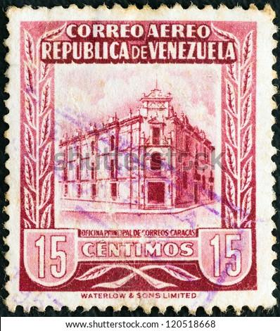 VENEZUELA - CIRCA 1953: A stamp printed in Venezuela shows General Post Office, Caracas, circa 1953. - stock photo