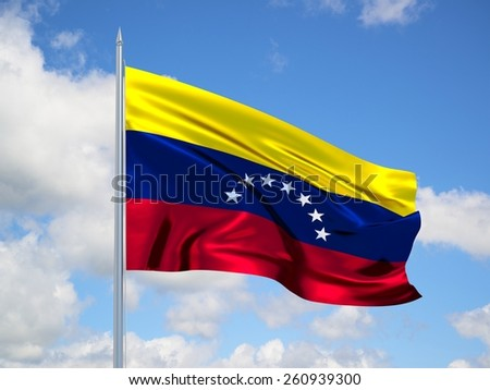 Venezuela 3d flag floating in the wind with a blue sky in the background - stock photo