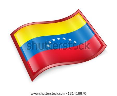 Venezuela Flag icon, isolated on white background. - stock photo