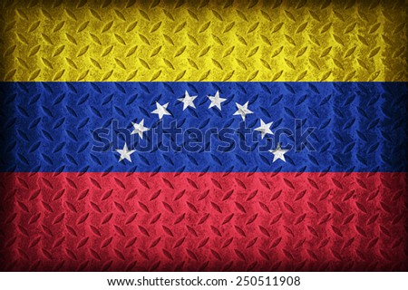 Venezuela flag pattern on the diamond metal plate texture ,vintage style - stock photo