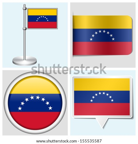 Venezuela flag - set of various sticker, button, label and flagstaff
