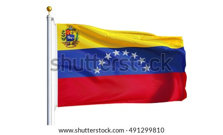 Venezuela flag waving on white background, close up, isolated with clipping path mask alpha channel transparency
