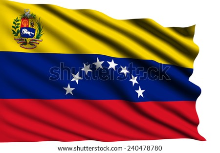 Venezuela flag with fabric structure (clipping path)