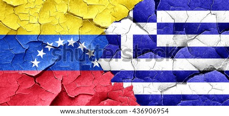 Venezuela flag with Greece flag on a grunge cracked wall