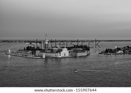 venice aerial view at sunset - stock photo