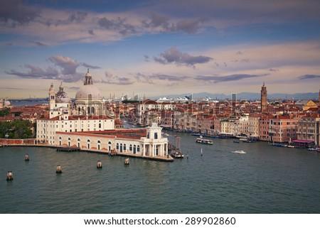 Venice. Aerial view of the Venice with Basilica di Santa Maria della Salute and Grand Canal. - stock photo