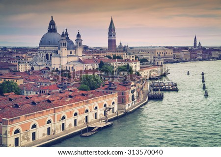 Venice. Aerial view of the Venice with Basilica di Santa Maria della Salute and St. Mark's Campanile. - stock photo