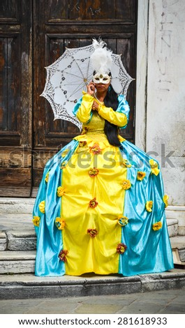 VENICE APRIL 14: Girl in carnival costume on April 14th, 2015 in Venice, Italy
