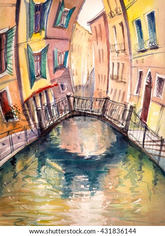Venice architecture :bridge ,canal and colorful houses..Picture created with watercolors. - stock photo