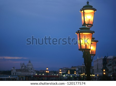Venice at night, Italy - UNESCO World Heritage Site - stock photo