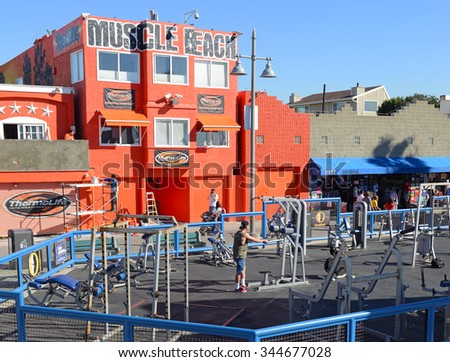 VENICE BEACH, CALIFORNIA. CIRCA DECEMBER 2013. Made famous by bodybuilders Arnold Schwarzenegger and Lou Ferrigno as well as Joe Weider, Muscle Beach near Los Angeles is a popular tourist attraction. - stock photo