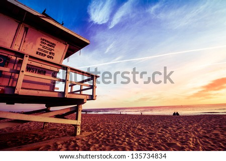 Venice Beach. Lifeguard stand at sunset. Summer concept - stock photo