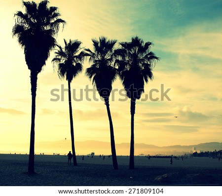Venice Beach Sunset vintage retro cross processed colors. Tropical summer vacation and travel concept - stock photo