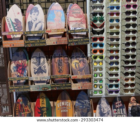VENICE BEACH, UNITED STATES - APRIL 14, 2015 : the tourist shops on Venice beach walkway, in Los angeles, california, united states