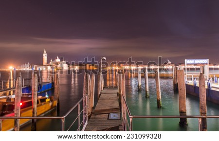 venice by night. san giorgio island in the background. - stock photo