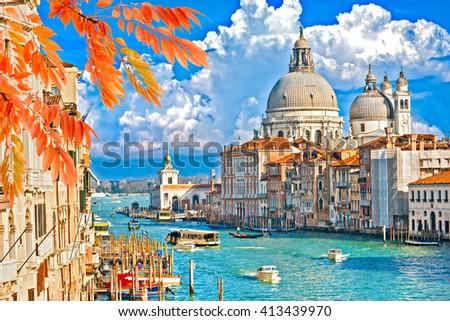 Venice, Canal Grande with Basilica di Santa Maria della Salute, Italy - stock photo