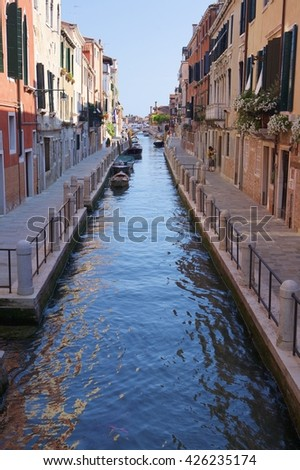 Venice canal. Morning beauty of color water
