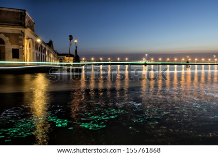 venice canals night view with light reflections - stock photo