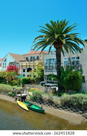 Venice Canals Walkway in Los Angeles, California. - stock photo
