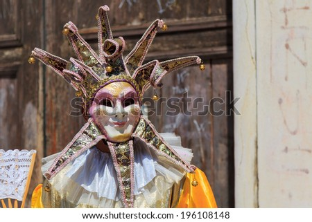 Venice carneval mask and costume - stock photo