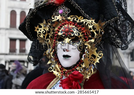 Venice Carnival Mask - Red and gold