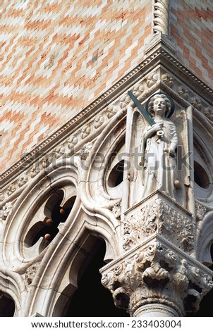 Venice detail of Doge's Palace - stock photo
