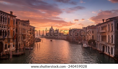 Venice early morning. Sunset over Venice. Picture taken from the Academy bridge. - stock photo